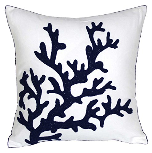 DECOPOW Embroidered Nautical Decor Pillow Covers,Square 18 inch Decorative Canvas Pillow Cover for Nautical Style Deco by (Navy-Coral)