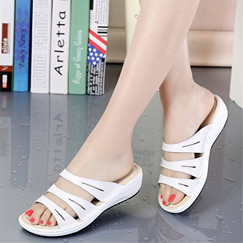50ac59beec73b On 858 Heel Open Sandals Leather HKR Mid White Toe Platform Shoes Slide ... Flip  Flat Casual Decor Mules ...