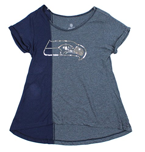 Seattle Seahawks NFL Juniors Women's Harlequin Sequined Fashion Top, Navy