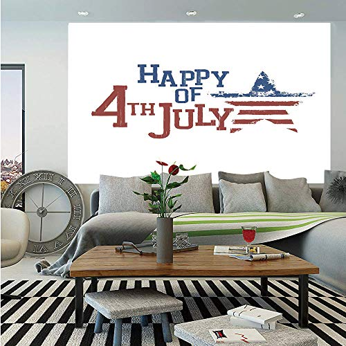 4th of July Decor Wall Mural,Patchwork Style American Stars and Stripes Cute Kids Baby Pride Pattern,Self-Adhesive Large Wallpaper for Home Decor 83x120 inches,Ruby Blue -