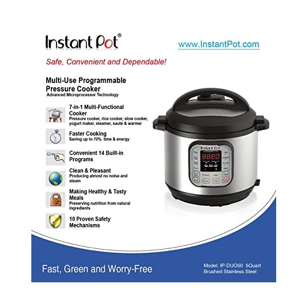 Instant Pot DUO50 7-in-1 Multi-Use Programmable Pressure Cooker, 5 Quart/900W 6