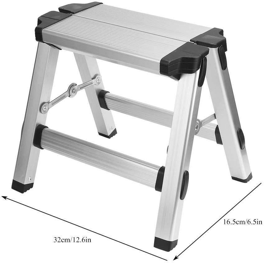 Asixx Escalera Plegable Mini, Taburete Plegable de Aluminio, Escalera de Doble Cara Antideslizante Multifuncional, Máx.Carga 150 kg: Amazon.es: Hogar