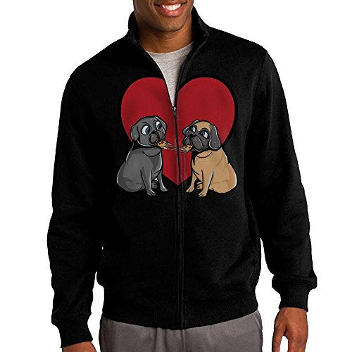Men's Pugs-love-pizza-too Solid Stand Collar Zipper Jacket Size L - Eggs Benedict Cumberbatch Costume