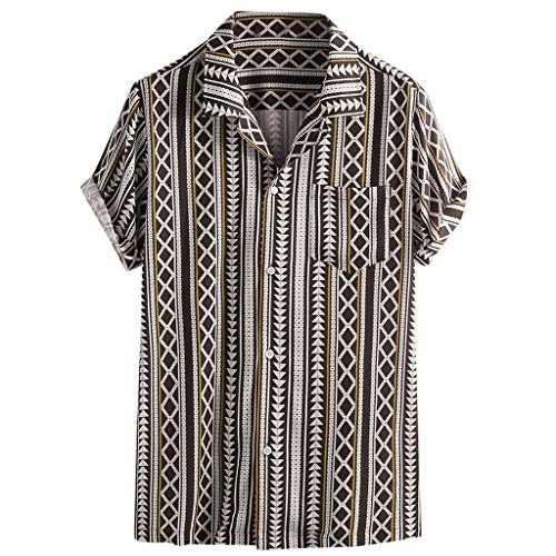 iHPH7 Men's Short Sleeve Button Down Casual Shirt Colorful Stripe Summer Short Sleeve Loose Buttons Casual Shirt Blouse (XXL,1- Brown) (The Man With The Golden Arm Kung Fu)