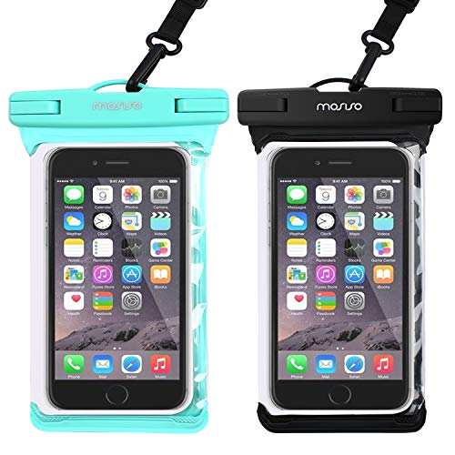 MOSISO Waterproof Phone Pouch Universal IPX8 Cellphone Underwater Dry Bag Protective Case Compatible iPhone Xs/XS Max/XR/8/8 Plus/Samsung Galaxy/Note up to 6 Inch Smartphone, 2 Pack(Black + Hot Blue) ()