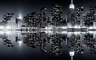 Pareti Con Foto In Bianco E Nero : A new york di notte bianco e nero città tela artistica da