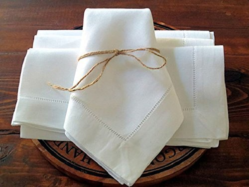 Linen Napkins White color Handmade Hemstitched napkins Set of 4 18 X 18 Dinner napkins