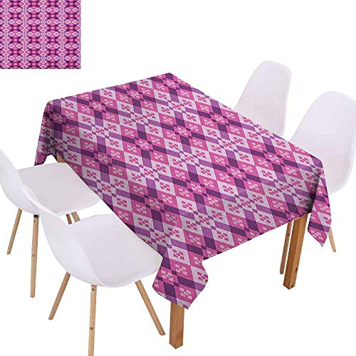 (Waterproof Tablecloth Abstract Geometric Tiles Square and Rectangles Floorboard Style Modern Art Party W50 xL80 Fuchsia Hot Pink Pale Mauve Great for Buffet Table)