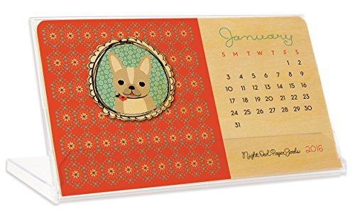 Night Owl Paper Goods 2016 Real Wood Critter Desk Calendar
