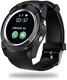 Junaldo V8 smart phone watch with Bluetooth and sim card slot with memory card slot( wrist watch) black Smartwatch (Black Strap regular)
