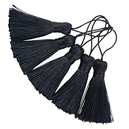 (Makhry 20pcs 4.3 Inch Handmade Silky Floss Mini Tiny Craft Tassels with 2-Inch Cord Loop and Small Chinese Knot for Earrings, Souvenir, Bookmarks, DIY Craft Accessory,Tags (Black))