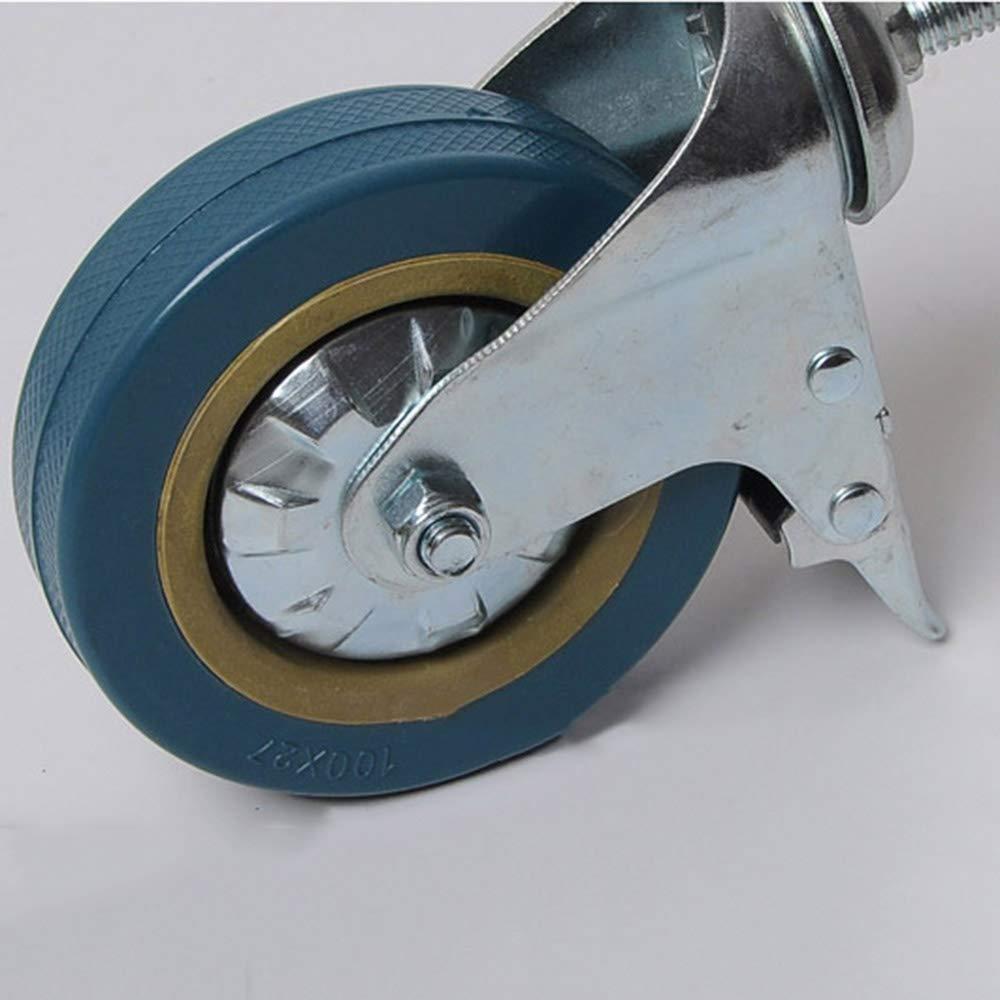 Fu/ßrollen 100 mm /× 4 Gewinde Plunger Universalrad Kinderbett Zubeh/ör PVC-Walze inzelbelastung 45-50kg Industriewagen Zubeh/ör Flache Rollen mit Bremsen