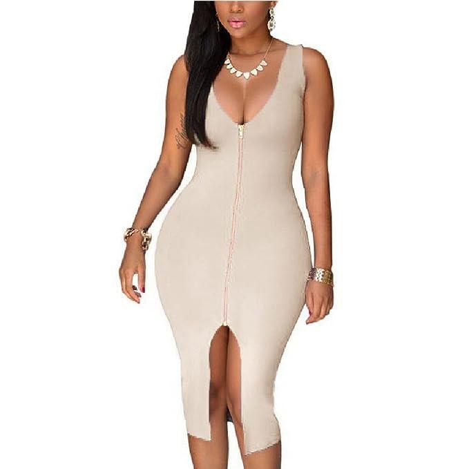Ndjqer Women Sexy Dress Club Plus Size Party Dress Bodycon Sundress