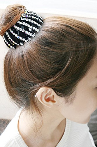 Generic Korean flower head diamond jewelry Korean women girls lady bird's nest hair caught ponytail hair tie clasp bud balls hair ring gripper