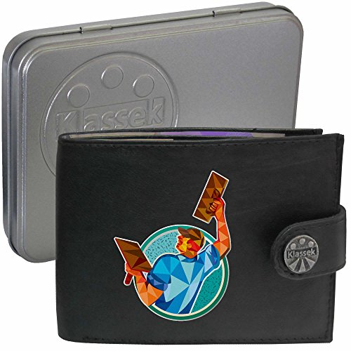 Mason Builder Plasterer Baumeister Gipser Klassek Herren Geldbörse Portemonnaie Brieftasche aus echtem Leder schwarz Geschenk Präsent mit Metall Box