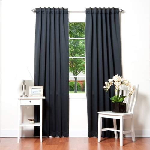 Best Home Fashion Thermal Insulated Blackout Curtains - Back Tab/ Rod Pocket - Black - 52'W x 84'L - (Set of 2 Panels)