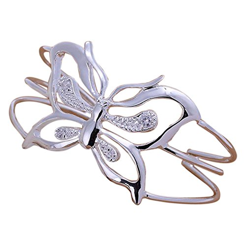 ACE New Fashion Jewelry 925 Sterling Silver Charm Hollow Zircon Crystal Butterfly Circular Open Bangle Bracelet for Women G