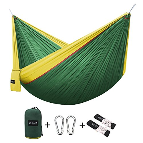 G4Free Double Camping Hammock - Portable High Strength Hammock - Lightweight Blend Color Nylon Fabric Parachute for Outdoor. Hammock Straps & Steel Carabiners include(Yellow/Dark Green)