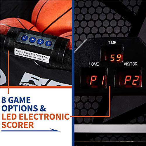 Classic Shootout Basketball Arcade Game, Home Dual Shot with LED Lights and Scorer - 8-Option Interactive Indoor Basketball Hoop Game with Double Hoops, 7 Basketballs, Pump - Foldable Space Saver by Rally and Roar (Image #5)