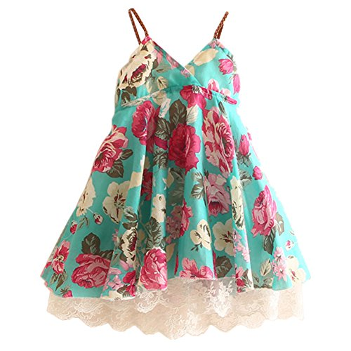 LittleSpring Little Girls' Dress Sleeveless Flower Lace Size 3T Green