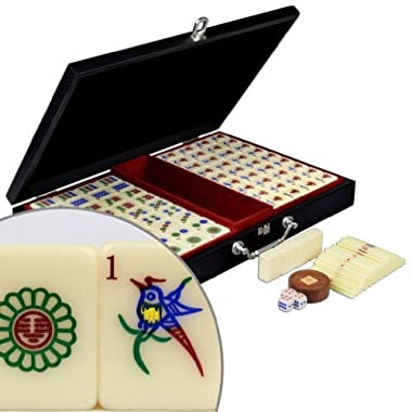 YMI Chinese Mahjong w/ Numbered Tiles and Wood Case -  Pro Set  - Standard
