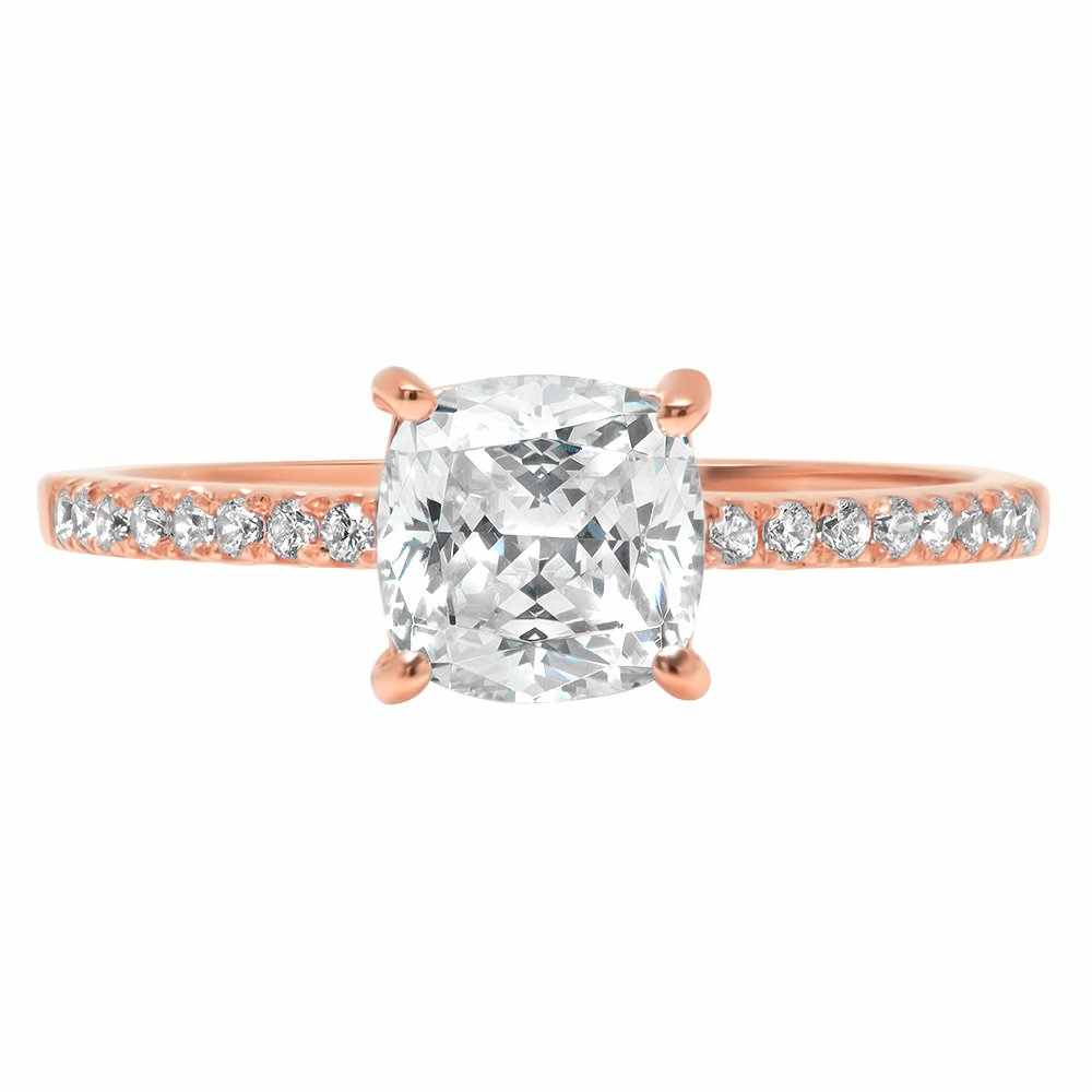 1.66ct Cushion Round Cut Classic Solitaire Designer Wedding Bridal Statement Anniversary Engagement Promise Accent Solitaire Ring 14k Rose Gold, 4.25