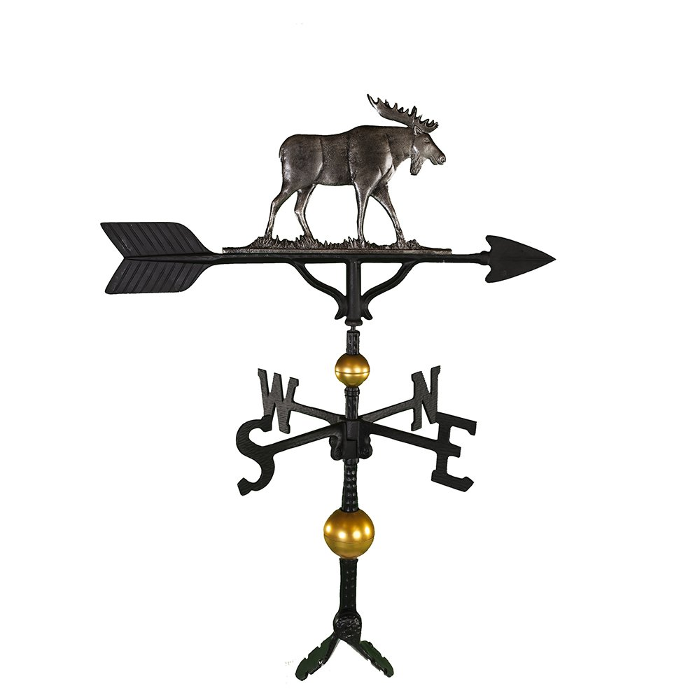 Montague Metal Products 32-Inch Deluxe Weathervane with Swedish Iron Moose Ornament WV-346-SI