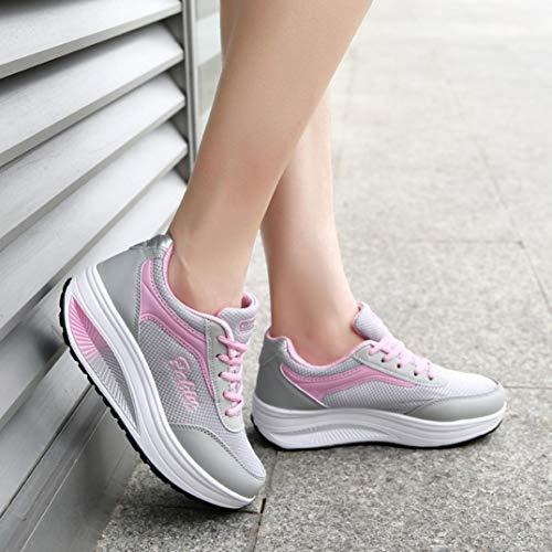 Gym Zapatos QinMM y Mallas Deportes oto Primavera Mujer para Cordones Libre Zapatillas Aire o Running de Rosado Calzado Verano con Transpirables Onwq67f0
