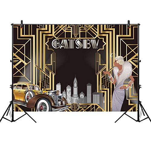 Allenjoy 7x5ft The Great Gatsby Themed Backdrop for Adult Celebration Retro Roaring 20's 20s Party Art Decor Happy 1st Birthday Wedding Decoration Pictures Background Supplies Photo Booth -