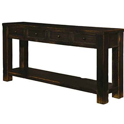 Amazon Com Black Rustic Console Table With Shelf And 4 Drawers Tall