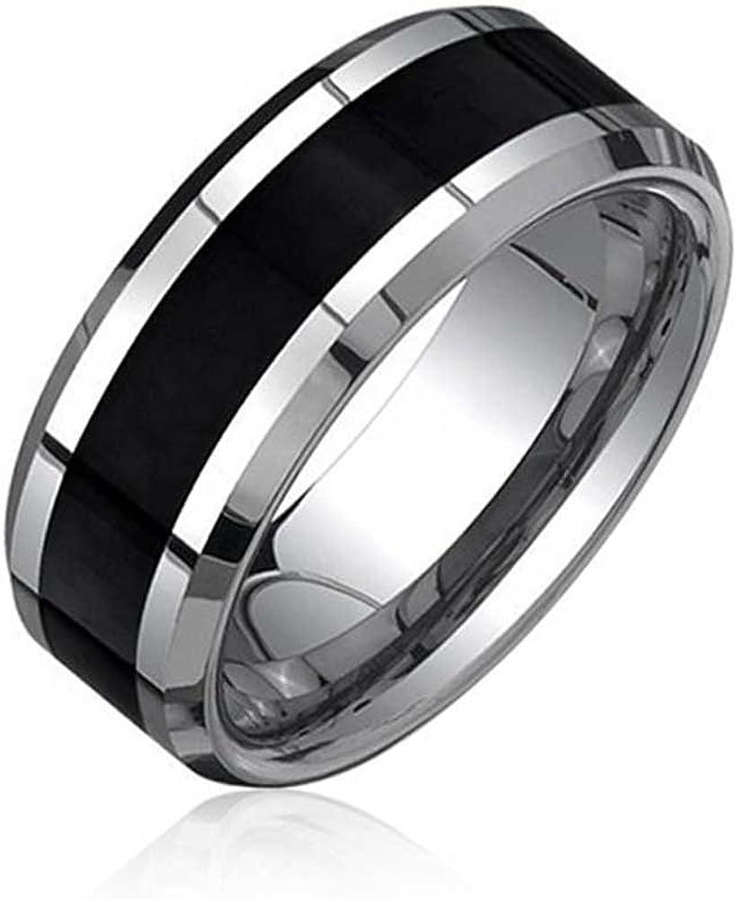 Bling Jewelry Borde Biselado de Fibra de Carbono Negro Mens Anillo Anillo de Bodas de tungsteno