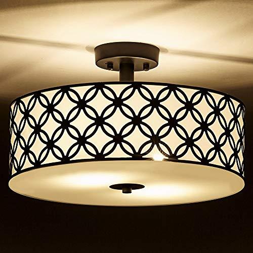 3e7b3c4d7ea SOTTAE Black Ceiling Lamp 2 Lights Creamy White Glass Diffuser Living Room Flush  Mount Ceiling Lights