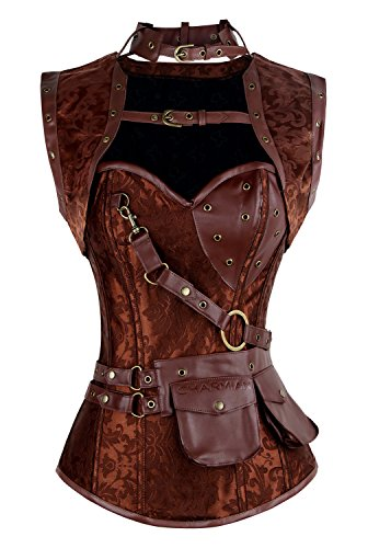 Charmian Women's Plus Size Retro Goth Spiral Steel Boned Brocade Steampunk Bustiers Corset with Jacket and Belt Brown XXX-Large