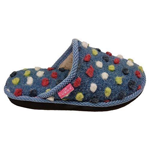 Pois Femmes Enfiler Bleu à Fantasia Duveteux Mule Ferme Pantoufles à Pom Pom Semelle Confortable Boutique 8xqw6IF