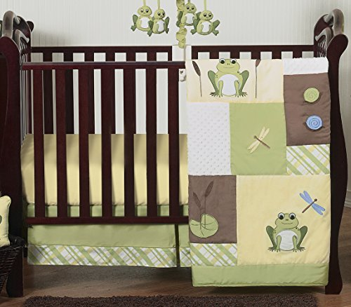 Froggy Diaper Stacker (Yellow and Green Leap Frog Baby Boy Girl unisex Bedding 4 Piece Crib Set Without Bumper)