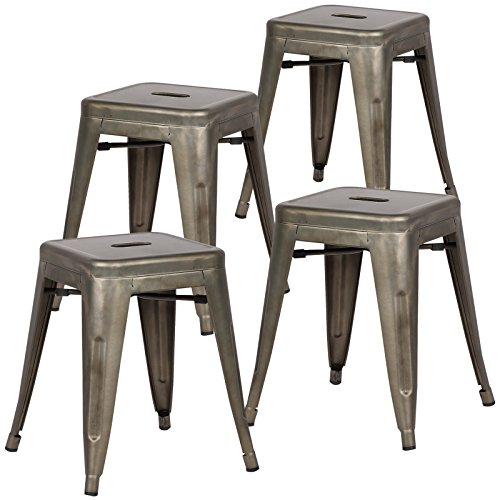 - Poly and Bark Trattoria 18 Inch Metal Side Dining Chair and Bar Stool in Bronze (Set of 4)