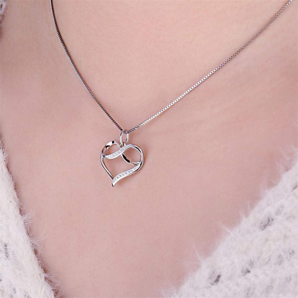 FOIOSDG 925 Sterling Silver Pendants Necklace Infinity Romantic Love Heart Cubic Zirconia Fashion Pendant Without Chain