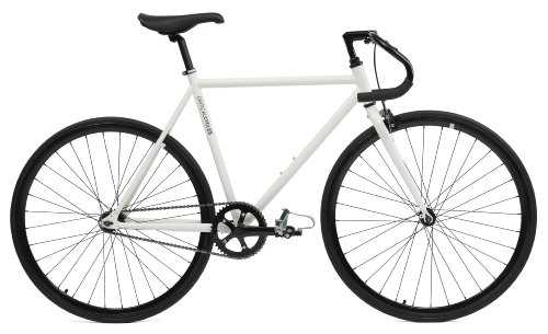 Critical Cycles Classic Fixed-Gear Single-Speed Bike with Pista Drop Bars, White, 57cm/Large