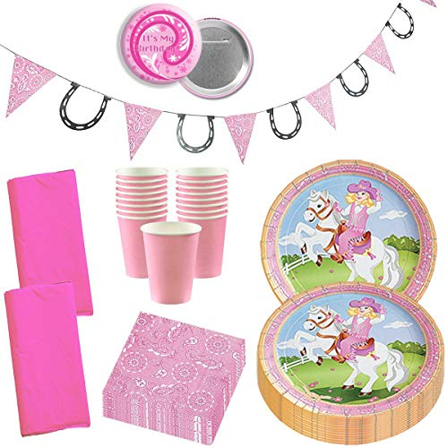 Cowgirl Party Supplies Western Cowgirl Party Wild West Horse Pink Girly Birthday Party Supplies Disposable Tableware Set for 16 ()