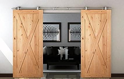 DIYHD 10ft Brushed Stainless Steel Sliding Barn Wood Door Hardware Double  Bi Parting Cabinet Door