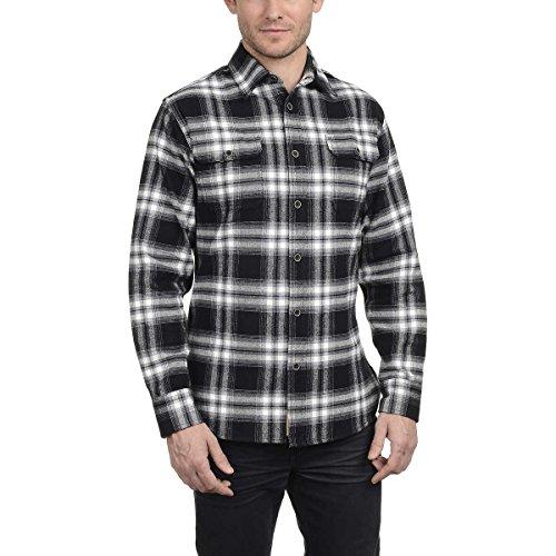 JACHS Men's Brawny Flannel Shirt (XL, Black)