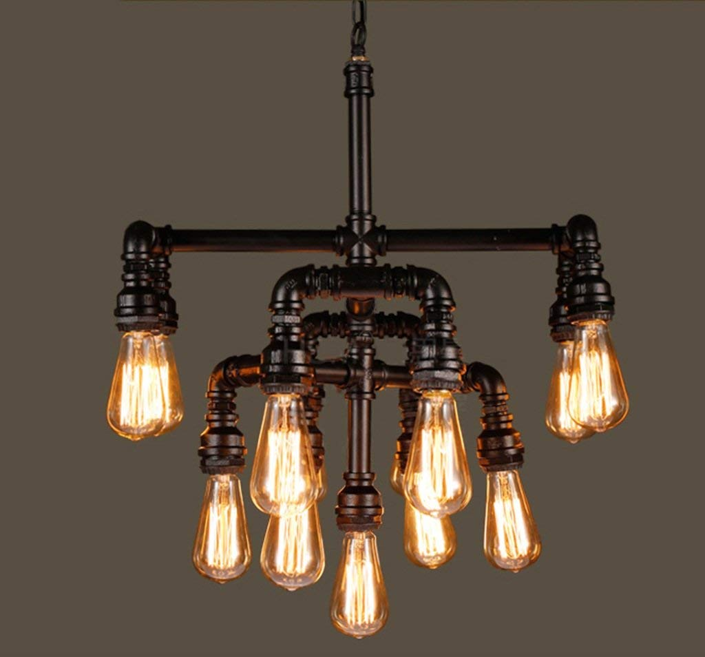 TJZY Novely Chandeliers-Chandelier Loft Industrial Style Iron Pipe Light Restaurant Bar Living Room Light 52 52Cm E27, Creative Decorative Lighting