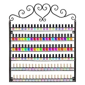 GOTOTOP Organizer Smalto per Unghie Espositore,Scaffale Metallico da Parete,Nail Polish Display Makeup Storage rack,Organizer da Muro per 180 smalti,6 livelli, 60.5 * 5.3 * 72cm (bianco)
