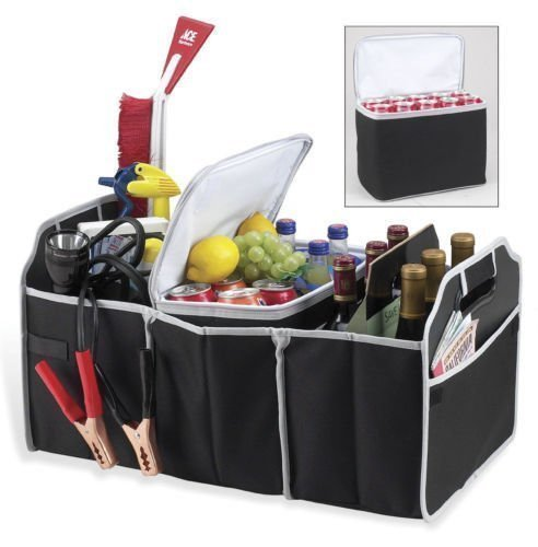 2 in 1 Trunk Organizer & Cooler Set - Collapsible Folding Flat Trunk Organizer Storage 2 Piece Set For Car SUV Truck in Black By USA CASH AND CARRY - PrimeTrendz TM
