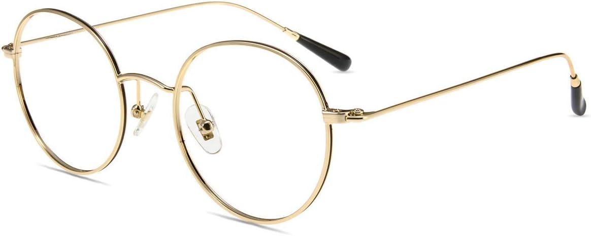 Gafas Filtro Antifatiga Anti-luz Azul y contra UV400 Ordenador Gaming PC de Gafas Montura de Metal Moda Firmoo Gafas Luz Azul para Mujer Hombre S968 Oro
