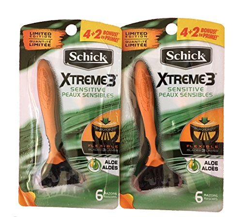 Price comparison product image Schick Xtreme 3 Disposable Razors 6 Count (Pack of 2)