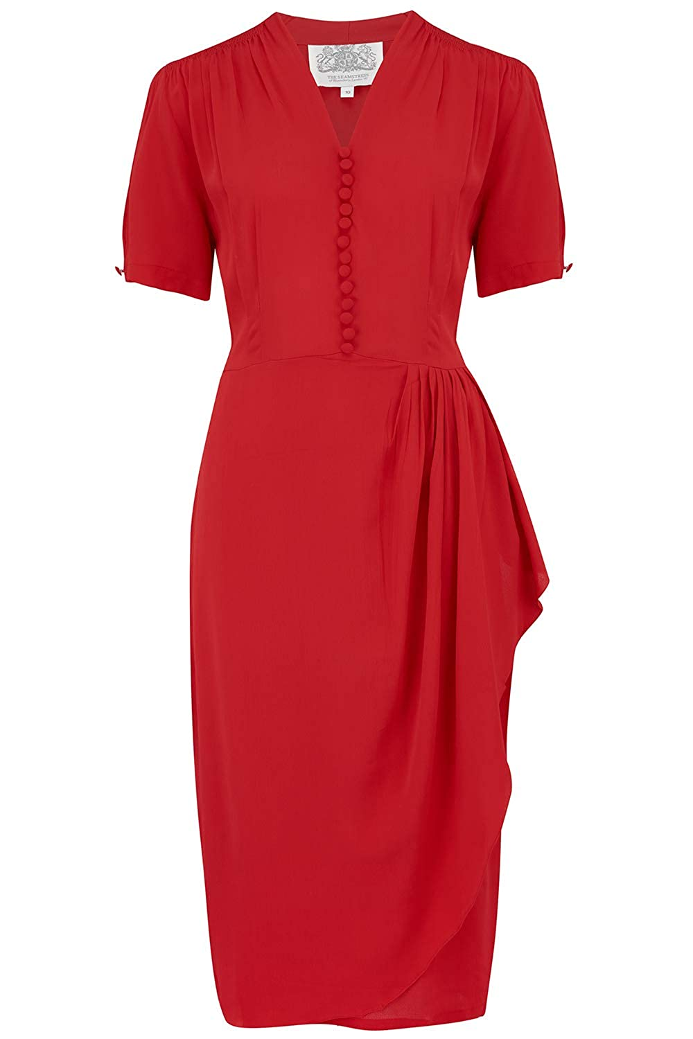 1940s Dresses and Clothing UK | 40s Shoes UK 40s Red Authentic Vintage 1940s Style The Seamstress of Bloomsbury Mabel Dress in  £79.00 AT vintagedancer.com