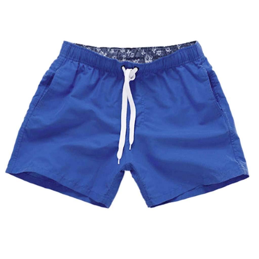 NUWFOR Men Pure Color Splice Stripe Beach Work Casual Men Short Trouser Shorts Pants(Dark Blue,US S Waist:27.56-32.28'')