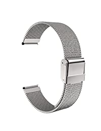 """Universal 18mm Quick Release Watch Band, MoKo Mesh Stainless Steel Bracelet Replacement Strap for Huawei Watch 1st/Fit Honor S1, Asus Zenwatch 2 1.45"""", Withings Activite Pop/Pulse Ox, Silver"""