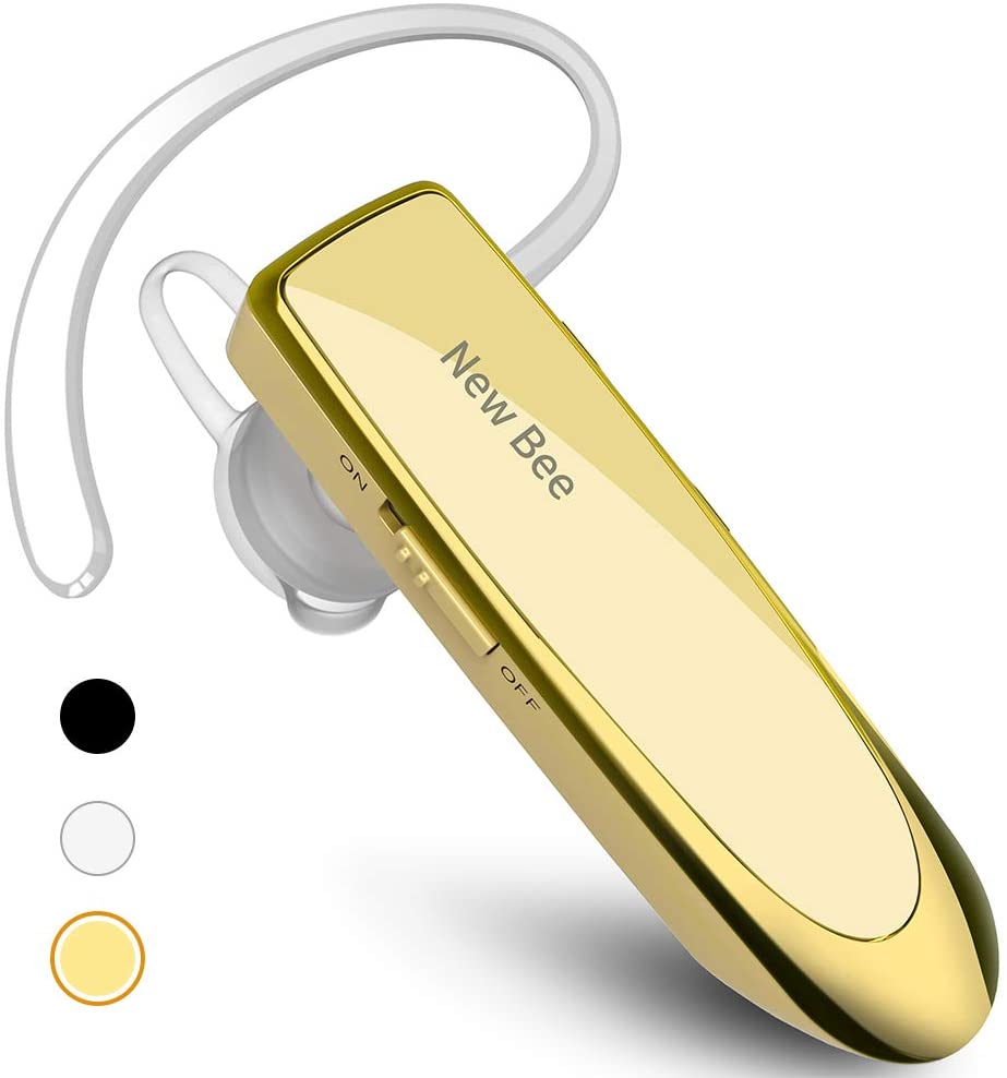 New bee Bluetooth Earpiece V5.0 Wireless Handsfree Headset 24 Hrs Driving Headset 60 Days Standby Time with Noise Cancelling Mic Headsetcase for iPhone Android Samsung Laptop Truck Driver White (Gold)